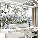 NXMRN Personnalisé 3D Photo Murale Papier Peint Aquarelle Plantes par Lac Tropical Papier Peint Pour Salon Chambre Intérieur De La Maison,350x250cm