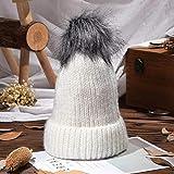 Chapeau Femme,La Mode Vintage En Tricot Chaud Hip Hop Occasionnels Chapeaux D'Hiver En Coton Épais Blanc Bonnet Casquette Cache-Oreilles Doux Et Confortable Élastique Unisexe Baggy Winter Hat