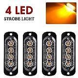 4pcs 12-24V Ultra Mince Voyant Barre D'alarme Stroboscopique d'urgence Lampe- 4 LEDS Bande lumineuse D'avertissement de Flash Camion Moto Voiture - Ambre