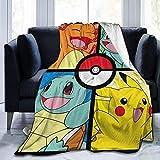 KINGAM Jeté de lit en flanelle polaire Pokémon ultra doux et durable, décoration d'intérieur, parfait pour lit, canapé, chaise, 203,2 x 152,4 cm
