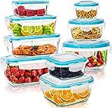 Récipient En Verre - Boîtes Alimentaires - 18 pièces (9 récipients + 9 couvercles) - Couvercles Transparents - Sans BPA - Pour la cuisine ou le restaurant - par Utopia Kitchen