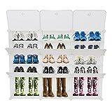 Boîtes à chaussures Armoire Plastique avec Porte modulable, bac Meuble casier Cube, etageres Cubes, Stable, Assemblage Facile、Meuble à chaussures unisexe avec couvercle 3*5 (B2)
