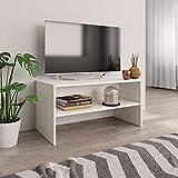 vidaXL Meuble TV Armoire Basse avec Un Compartiment Ouvert Meuble Multimédia Stéréo Salon Salle de Séjour Maison Blanc 80x40x40 cm Aggloméré