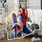 qazxsw Couverture extérieure Hiver Confortable et Facile à Nettoyer Couverture multifonctionnelle canapé Bureau Dessin animé Spiderman Banc