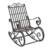 [en.casa] Fauteuil à Bascule de Jardin Vintage Robuste Meuble Design pour Usage Extérieur Métal 92 x 59 x 90 cm Vert Foncé Patine Grise Claire