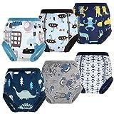 FLYISH DIRECT Lot de 6 Pantalons d'entraînement pour Pot pour bébé sous-vêtements d'entraînement pour Enfants sous-vêtements pour bébé pour garçon et Fille Couches Anti-fuites 4 Ans, Bleu