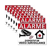 Autocollants vidéo Surveillance, Dispositif sous Vidéo Surveillance, Lot de 8 adhésifs. Stickers Alarme et sécurité - 80 x 60 mm, Blanc