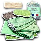 Kit Premium de 10 Chiffons Bambou Microfibres + 1 Sac à linge, Lavettes, Lingettes, Eponges Lavables-Nettoyer Sans Traces Vitres Miroirs Vaisselle Voiture Vitrocéramique Écran -Lavable en Machine