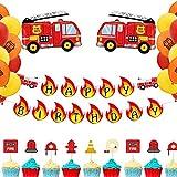 JeVenis Ensemble de 48 Bannières D'anniversaire De Pompier Camion D'incendie Ballons D'anniversaire Pompier Décoration De Fête D'anniversaire Pompiers Décoration De Fête