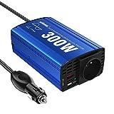300W Pur Sinus Convertisseur 12V 220V 230V Onduleur à Onde Sinusoïdale Pure Adaptateur de Voiture avec Double USB 4.8A et Prise AC pour Tablettes Portables Smartphones GIANDEL