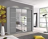 Oslo Armoire moderne à portes coulissantes avec miroir et 2 LED Largeur 150 cm/180 cm/203 cm, gris, 203cm