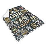 Rtisandu Couverture douillette « Ich Bin Aaron » et « Mache Aaron » - Couverture de canapé de qualité supérieure - Blanche - 150 x 200 cm