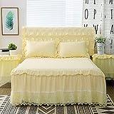 Parure de lit 3 pièces en dentelle pour lit de princesse, parure de lit pour fille, couvre-lit, housse de lit Queen size (couleur : jaune, taille : 200 x 220 m, 3 pièces)