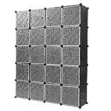 Turefans 20 Cubes, Armoire en Plastique, Armoire modulaire, Casiers en Plastique, Bricolage, vêtements de Rangement, Articles, 147 * 37 * 183cm