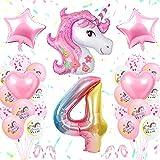 4 an Decoration Anniversaire Licorne Fille,TOLOYE Licorne De Décoration D'anniversaire Rose, 3D Énorme Licorne Ballon, 4e Licorne Accessoires De Fête pour Bébé