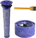 Blue Power Post-Moteur Filtre HEPA V6 & Pré Filtre d'Aspirateur V6 V7 V8,Kit de Filtre de Remplacement pour Dyson V6 Range,Accessoire d'Aspirateur# DY-966912-03(lot de 3,avec brosse de nettoyage)