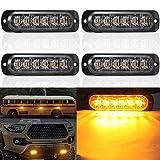 4 x LED Feux Stroboscopique,6 LED Lampe Flash Stroboscope Gyrophare LED Feux Pénétrations Avant Voyant d'Alarme Urgence Strobe Orange 18W 12V/24V pour Voiture Camion Remorque