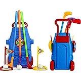 ZZAZXB Golf en Plein Air pour Enfants, Ensemble de Jouets de Sport de Golf avec 3 Types de Clubs, 2 Trous, 3 Balles, Mini-Golf Jouets de Sports de Plein Air pour 3 Ans et Plus, Garçon et Fille