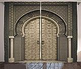 ABAKUHAUS marocain Rideaux, Aged Porte géométrique, Décoration Intérieure Accent Ensemble de 2 Panneaux, 280 cm x 225 cm, Sépia Noir