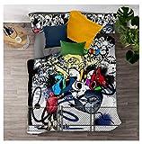 Timiany Ensemble De Literie Housse De Couette, Ensemble De Literie Imprimé Hip Hop 3D Graffiti Couette Et Taies d'oreiller à Fermeture éclair en Microfibre (Culture de Rue,135x200+50x75)