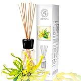 Diffuseur Parfum de Ylang-Ylang 100ml - Naturel Huile Essentielle - Fragrance Fraîche et Durable - Kit Diffuseur Cadeau avec 8 bâtons de Bambou est Le Meilleur pour Aromathérapie - Accueil