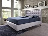 Abella Lit capitonné en tissu beige clair 180 x 200 cm + tête de lit rembourrée / lit avec support de matelas en bois / montage facile + lingerie bonus