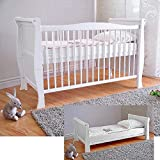 Lit bébé ✔ Lit bébé avec matelas en mousse Aloe Vera ✔ Réglables en hauteur ✔ Blanc ✔ Transformable en lit enfant