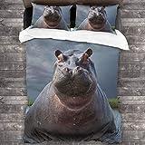 ZUL Parure De Lit,Tête d'hippopotame de Montagne,1 Housse De Couette 2 Taies d'oreiller,220 * 230cm*1