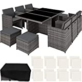 TecTake 403086 Ensemble Salon de Jardin en Résine Tressée Poly Rotin Aluminium Set 6+1+4 avec Deux Set de Housse + Housse de Protection, Gris