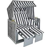 TecTake Chaise Cabine de Plage + Housse de Protection + 2 Coussins - diverses Couleurs au Choix - (Gris/Blanc | no. 400636)