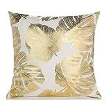 CHIHUOBANG Housse de coussin carrée en peluche bronzante style nordique - Imprimé feuilles dorées métallisées - Pour la maison, le canapé, la chambre, le bureau, la voiture, etc.