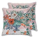 Nonebrand California Summer Bouquet de fleurs d'oranges et de lys en bleu et blanc Housse de coussin décorative pour canapé lit chaise 45,7 x 45,7 cm Lot de 2