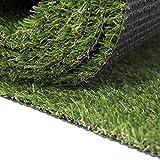 Carpeto Rugs Premium Gazon Artificiel pour Balcon Terrasse Synthetique Exterieur Vert - Synthétique au mètre 250 tailles disponibles Poils Longs - 1m 2m 3m 4m - Vert 100 x 100 cm (1m2)