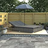 Tidyard Chaise Longue d'Extérieur/Chaise Longue de Jardin (avec Parasol) en Résine Tressée Style Moderne Gris