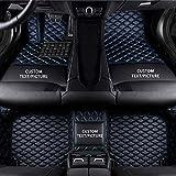 Maidao Tapis de Sol Voiture pour Auto Modèle 99% sur Mesure PU Cuir Tapis Imperméables Antidérapant Tous Temps de Voiture Bleu Noir