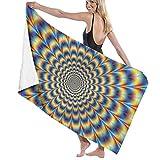 Flimy Na Serviette de Plage Spirale Illusion d'optique GIF Serviette de Bain imprimée Serviette de Voyage pour Piscine Natation Gym Sport