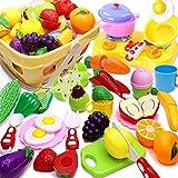 Airlab 32 Pièce Jouets en Plastique Fruits et Légumes à Découper, Enfant Dinette Nourriture Accessoire Ustensile de Cuisine, Cadeau Éducatif pour Garçons et Filles Plus de 3 Ans avec Panier