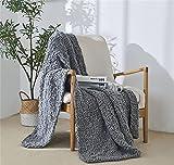 YULE Couverture en tricot épais beige doux à pompons pour lit, maison, canapé, tapisserie de style industriel (couleur : style deux gris, taille : 120 x 150 cm)