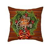 Daesar Taie d'oreiller Noël, Housse De Coussin Canapé Rouge Marron Vert Guirlande de Noël Merry Christmas Taie Oreiller 45x45CM 1 PCS Polyester