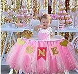 Kaptin Jupe tututu pour 1er anniversaire de bébé Doré rose et bannière pour chaise d'enfant Décoration pour fournitures de fête
