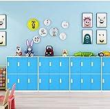 Casier en métal à 9 portes, armoire de bureau, salon et école - Rangement pour les enfants, chambre et bureau - Serrure - pour vêtements - Blanc, Métal, bleu, 6D