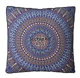 méditation Coussin de chaise Mandala carré hippie coloré décoratif indien Boho Lit pour chien Bohème Housse uniquement 35X35 inches bleu