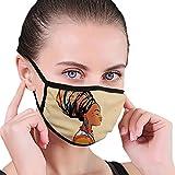 Masque facial confortable et coupe-vent - Femme ethnique avec plumes exotiques - Boucles d'oreilles et écharpe - Art hippie Zulu - Décoration imprimée pour le visage