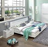 PEGANE Lit Adulte avec 2 chevets Coloris Blanc, rechampis Verre Blanc + Chrome - Dim: 180 x 200 cm
