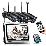 Kit de WiFi Vidéo Surveillance sans Fil, DEATTI Système de CCTV Caméra Sécurité avec 12Pouce LCD Moniteur, 8CH 3.0MP WiFi Kit de NVR avec 4pcs IP Caméra Extérieure, 1To de Disque Dur intégré