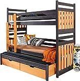 Lit superposé triple pour enfants - SAMBOR - En bois de pin massif naturel avec matelas et tiroirs - Wenge/Orange