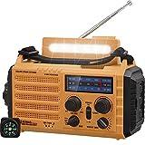 Radio Solaire, Radio Portable à Manivelle, Radio Météo d'urgence avec AM/FM/SW/NOAA, Banque d'alimentation Rechargeable 2000mAh, Lampe de Poche LED et Lampe de Lecture, Alarme SOS, Boussole