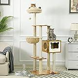 MSmask Arbre à chat 160 cm, grand arbre d'escalade avec sisal à griffer, arbre à chat stable avec plateformes d'observation douillettes (Marron)
