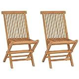 vidaXL 2X Teck Chaise Pliable Chaises de Jardin Terrasse Chaise d'Extérieur