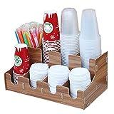 WanuigH Distributeur de Gobelets Multi Compartiments Café Papier Coupes DIY Organisateur Boîte de Rangement en Bois Titulaire de la Coupe jetable en Bois Facile à Utiliser